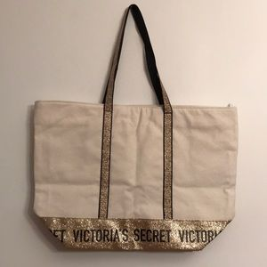 Victoria's Secret Bags - Victoria's Secret large canvas tote bag NWT $58